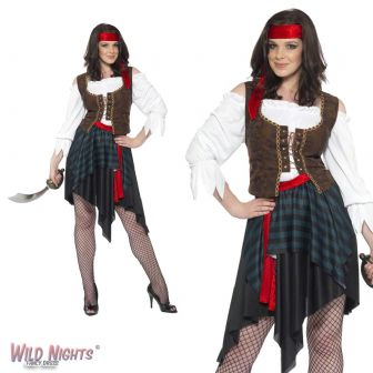 FANCY DRESS COSTUME # ADULT PIRATE WOMAN BUCCANEER WENCH SMALL 8-10